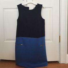 """Soft Sheath Dress Two tone Blue dress. Like a sweatshirt material which is comfortable but it is totally able to be worn to work. Best of both. Easy to wear for sure. Has been washed and not dried but never worn. Comes to my knees at 5'3"""" Merona Dresses Midi"""