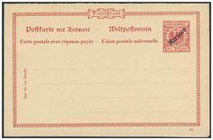 German Colonies, DP-Marokko 1899, 10 Pfg.-GA-Doppelkarte (Vorläufer, Berliner-Ausgabe), ungebraucht Pracht (Mi.-Nr.P. IV/ Mi.EUR 100,--). Price Estimate (8/2016): 30 EUR.