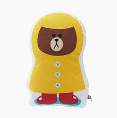 LINE Friends Shaped cushion Brown raincoat Character Doll Gift Toy GENUINE #LINEFriends #Dolls
