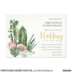 Succulent Wedding Invitations, Watercolor Wedding Invitations, Wedding Invitation Cards, Custom Invitations, Invitation Ideas, Invites, Protea Wedding, Cactus Wedding, Wedding Events