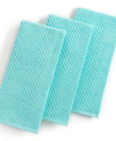 Martha Stewart Collection Kitchen Towels, Set Of 3 Textured Terry Aqua   Kitchen  Gadgets
