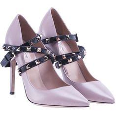Garavani Studwrap Pump found on Polyvore featuring shoes, pumps, womenshoes, black studded pumps, studded shoes, black strap shoes, strappy shoes and mid-heel pumps
