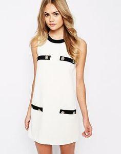 44eb7e852aa4 black   white dress River island black   white shift dress~ just wore it  once River Island Dresses Mini