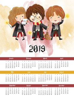Harry Potter Free Printable 2019 Harry Potter One Page Calendar - The Cottage Market - This Free Printable 2019 Harry Potter One Page Calendar is waiting for you to print out for your special space. Harry and Friends are magical! Harry Potter Tumblr, Harry Potter World, Carte Harry Potter, Harry Potter Calendar, Magia Harry Potter, Harry Potter Planner, Harry Potter Thema, Harry Potter Free, Theme Harry Potter