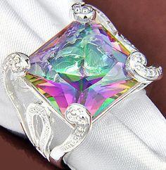"Size 8   Beautiful 5/8"" (16mm) Sq. Rainbow Topaz Gem 925 Silver Ring Jewelry   Makes a great gift. #help #retweet #follow #repin http://stores.ebay.com/jewelryandthingsroseandersen5?_rdc=1"