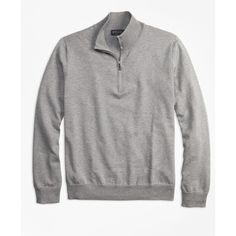 Brooks Brothers Supima® Cotton Half-Zip Sweater ($108) ❤ liked on Polyvore featuring men's fashion, men's clothing, men's sweaters, charcoal, brooks brothers mens sweaters, mens zipper sweater, mens zip sweater, mens cotton sweaters and mens 1 2 zip sweater