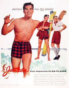 1955 Jantzen Men's Swimsuits original vintage advertisement. Jantzen leads the plaid parade. Features three models with original list prices starting at $3.95. Size 10 by 13 inches. Price: $50.00 worldwide delivery included.