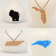 Customizable State Love Necklace with Heart - Choose the City for the Heart - Wood or Acrylic - Laser Cut Jewelry