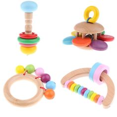 4 Pieces Wooden Baby Rattles Montessori Toy for Newborn Baby Boy and Girl Musical Crib Mobile, Wooden Baby Rattle, Montessori Toys, Crib Bedding Sets, Baby Games, Baby Photos, Boy Or Girl, Baby Boy, New Baby Products