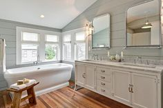 Master bathroom with sloped ceilings over shiplap clad walls painted gray green, Benjamin Moore Tranquility, framing the Restoration Hardware Pharmacy . Wood Panel Bathroom, Shiplap Bathroom Wall, Wainscoting Bedroom, Faux Wainscoting, Wainscoting Styles, Master Bathroom, Gray Shiplap, Shiplap Wood, Bathroom Ceilings