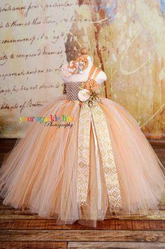 Gold Dust Glitter Tutu dress flower girl ivory by YourSparkleBox, $99.95