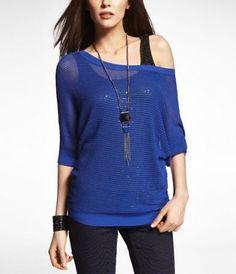 Express Blue Dolman Sweater