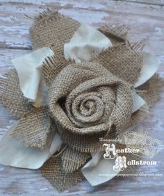 Items similar to Burlap and muslin flower accent- perfect addition to wedding decor and flower girl baskets on Etsy Burlap Fabric, Burlap Lace, Burlap Flowers, Diy Flowers, Burlap Wreath, Hessian, Burlap Projects, Burlap Crafts, Diy Crafts
