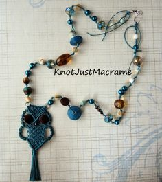 Inspiration for cord and bead necklace. New Micro Macrame Tutorial: A Retro Owl Pendant