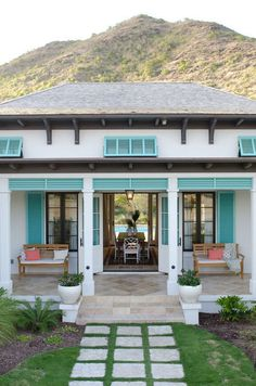 beach cottage turquoise + white