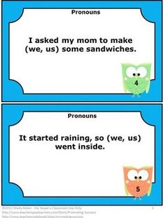 "FREE ""We or Us"" Pronouns Task Cards for 1st or 2nd Grade Literacy: These task cards are a great alternative to worksheets and work well for a quick formative assessment or review."