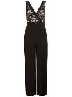 Black lace cross front jumpsuit