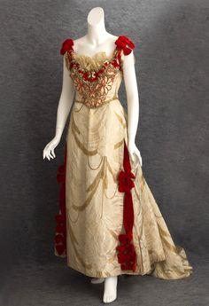 Catherine Donovan silk brocade ball gown, c.1890
