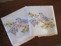 Vintage Pair of Pillowcases Crocheted & Embroidered Blue Birds & Cherry…