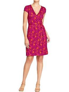 Womens Cap-Sleeved Wrap Dresses...i like the color on this one