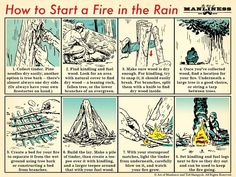 How to Start a Fire in the Rain | The Art of Manliness #selfdefenseinfographic