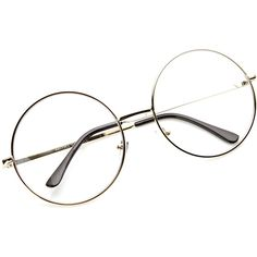 Vintage Era Super Large Round Circle Metal Clear Lens Glasses 8714 (180 MXN) ❤ liked on Polyvore featuring accessories, eyewear, eyeglasses, glasses, sunglasses, accessories - glasses, oversized eyeglasses, round glasses, clear glasses and vintage eyeglasses