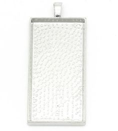 3 Large Charm Pendants Rectangle Silver Tone by ChezChaniSupply