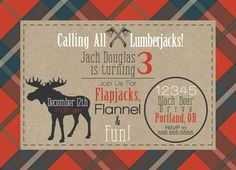Is your little lumberjack celebrating a birthday soon? This invitation is perfect for you! Rustic plaid invitation with kraft paper and moose detail