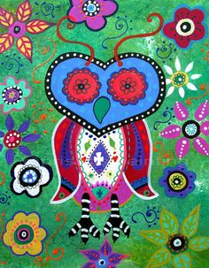 Folk Art Painting Mexican Talavera Wise Owl Original Painting Flowers