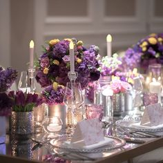 ✨Magical wedding set-up in lavender, purples and yellow tones at Address Boulevard in Dubai. It was an absolute pleasure to work with @musevent on this gorgeous tablescape.   Photography: @paula.scalco  Planner: @museevent  Flowers: @vintagebloomdxb   Venue: @adhboulevard    #Regram via @partysocialuae