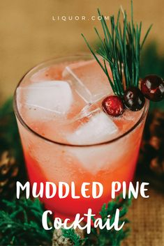 Nothing says #winter holidays like a pine-themed drink! Sip the nonalcoholic version all day, or make the #cocktail at night for a cool, yet warming, seasonal tipple. Between the cranberry, lemon and gin or vodka, it's the perfect sipper for the holidays.