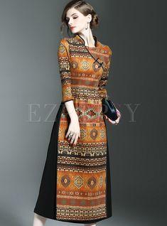 Dresses   Maxi Dresses   Vintage Stand Collar Print Three Quarters Sleeve Slim Maxi Dress