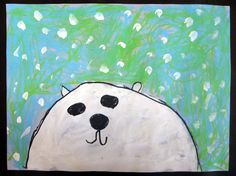 Kindergarten polar bears -   Discuss the winter season and sketch out polar bears. Discuss blending and create backgrounds with oil pastels. Next paint  polar bears with falling snow, draw expressive faces.