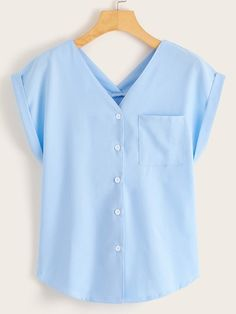 To find out about the Roll Sleeve Double Plunge Neck Blouse at SHEIN, part of our latest Blouses ready to shop online today! How To Roll Sleeves, Summer Shirts, Blouse Styles, Blue Fashion, Shirt Sleeves, Sleeve Styles, Couture, Blouses For Women, Sport