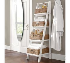 This bathroom storage ladder combines function with style. Reduce the clutter in your master bath with this four tier storage ladder. Shelves increase in size from top to bottom Color: White.