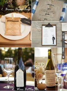 creative wedding menus | CHECK OUT MORE IDEAS AT WEDDINGPINS.NET | #weddings #uniqueweddingideas #unique