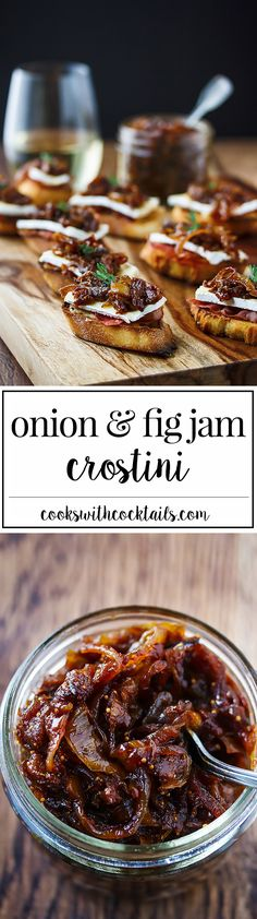 Onion and fig jam with brie, prosciutto and roasted garlic on a crostini makes an impressive appetizer that's just as easy to make for 20 as it is for 50.