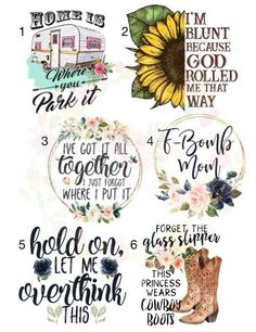 Laser Waterslides / blunt sunflower \ f bomb mom / camper / cowboy boots / laser printed / laser decals / tumbler supplies Diy Tumblers, Custom Tumblers, Glitter Tumblers, Silhouette Projects, Silhouette Design, Decoupage, Tumbler Designs, Vinyl Projects, Cricut Design