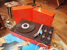 Vintage Furniture Flea - Fab Orange Portable record player.