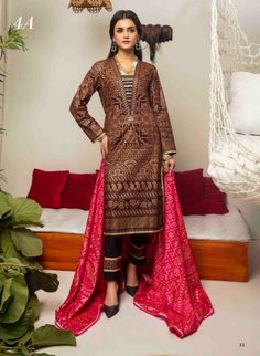 MONSOON CAMBRIC-BANARSI EDITION-ALZOHAIB -page-018. Pakistani Dresses Online, Eid Dresses, Pakistani Outfits, Summer Dresses, Pakistani Clothing, Eid Outfits, Formal Dresses, Latest Pakistani Fashion, Short Frocks