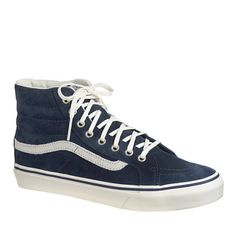Vans' high-tops are the epitome of laid-back skate culture. The women's sneaker—now in fall-ready colors exclusively for J.Crew—is a narrower version of its men's counterpart, so it feels like you borrowed your brother's high-tops (without making your feet look huge). Don't be surprised if you suddenly find yourself incorporating kickflips and ollies into casual conversation. <ul><li>Unisex sizing: Women, please order one and a half sizes smaller than your regular size.</li><li>Suede upper…