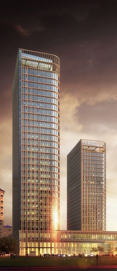 Talan Towers, Astana, Kazakhstan designed by Skidmore, Owings & Merrill (SOM) Architects :: 30 floors, height 145m