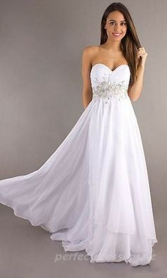 Grad dress, picture a blush pink, or rose red, even deep blue, gorgeous shape, love the jeweled accent!