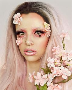 Light Pink Sakura Ombre Wave Long Synthetic Lace Front Wig Click the image for more info Pink Ombre Hair, Pink Wig, Flower Makeup, Fairy Makeup, Creative Makeup Looks, Braided Hairstyles Tutorials, Synthetic Lace Front Wigs, Aesthetic Makeup, Twist Braids