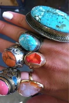 Big, Bold and Colorful Statement Rings WOW A LITTLE TOO MUCH YOU THINK?