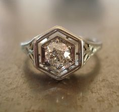 "Stunning art deco diamond ring. This would match my ""new"" (well, to me) Earrings PERFECTLY!!!!"