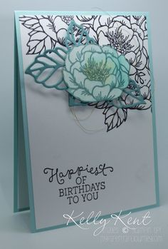 Pop of Colour card using Birthday Blooms stamp set. Birthday Bouquet, Arts And Crafts, Paper Crafts, Color Card, Colour, Bird Cards, Stamping Up, Flower Cards, Stampin Up Cards