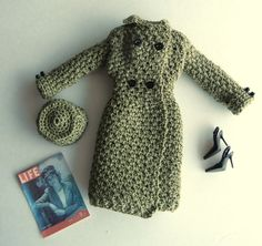 This is Anchors Aweigh, a crochet pattern that I designed for Barbie. It is a military style coat and hat, reminiscent of the 1940s. Skill level = intermediate; material used = size 10 crochet cotton. Only the pattern is for sale; the actual outfits are unavailable. (The dolls and accessories are shown only to give you an idea of what can be done after you make the outfit. I made it in both navy and olive green.) No shipping cost, as you can download the PDF file from Etsy immediate...