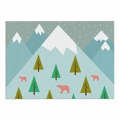 KESS InHouse Cristina Bianco Design 'Bears Illustration' Blue Nature Dog Place Mat, 13' x 18' -- Awesome dog product. Click the image : Dog food container