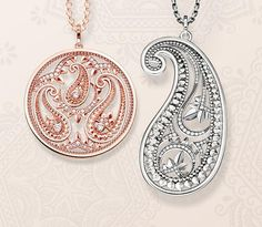 Floral ornamentation and glorious colours: the new THOMAS SABO jewellery designs are inspired by Hindu symbolism such as traditional paisley fabric patterns.
